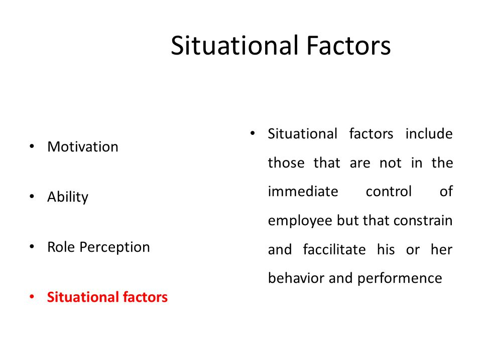 Situational Factors Motivation Ability Role Perception Situational factors Situational factors include those that are not in the immediate control of