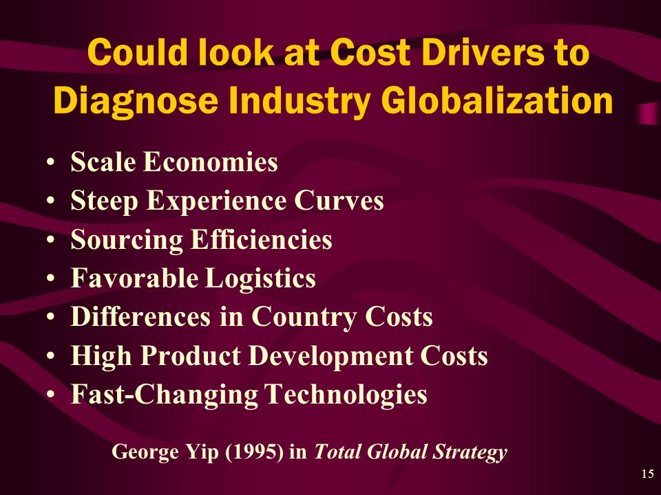 15 Could look at Cost Drivers to Diagnose Industry Globalization Scale Economies Steep Experience Curves Sourcing Efficiencies Favorable Logistics Differences in Country Costs High Product Development Costs Fast-Changing Technologies George Yip (1995) in Total Global Strategy