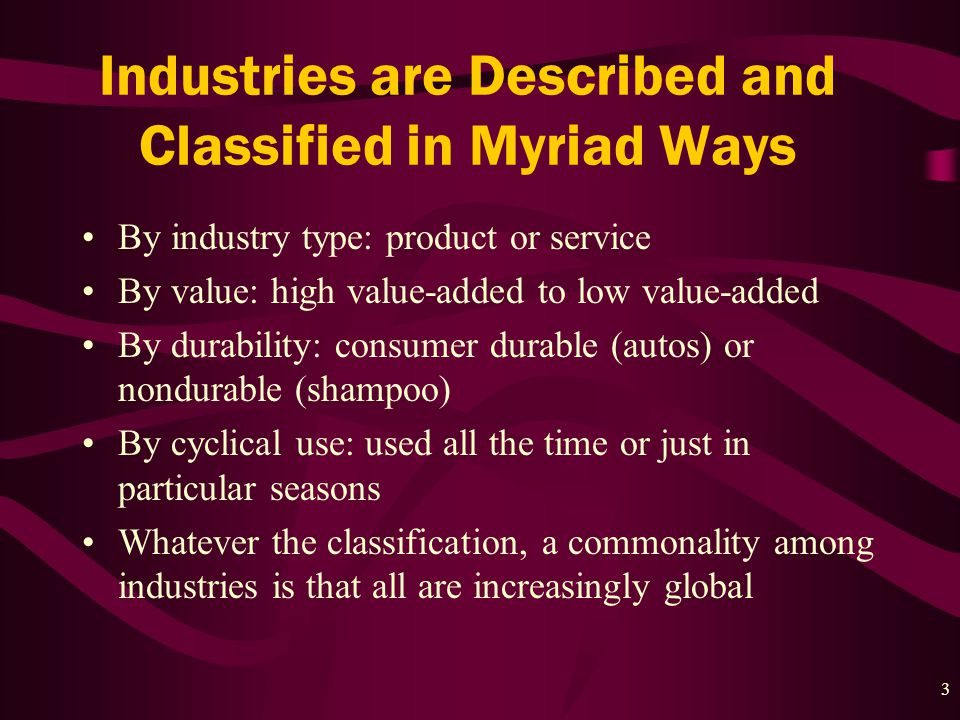 3 Industries are Described and Classified in Myriad Ways By industry type: product or service By value: high value-added to low value-added By durability: consumer durable (autos) or nondurable (shampoo) By cyclical use: used all the time or just in particular seasons Whatever the classification, a commonality among industries is that all are increasingly global