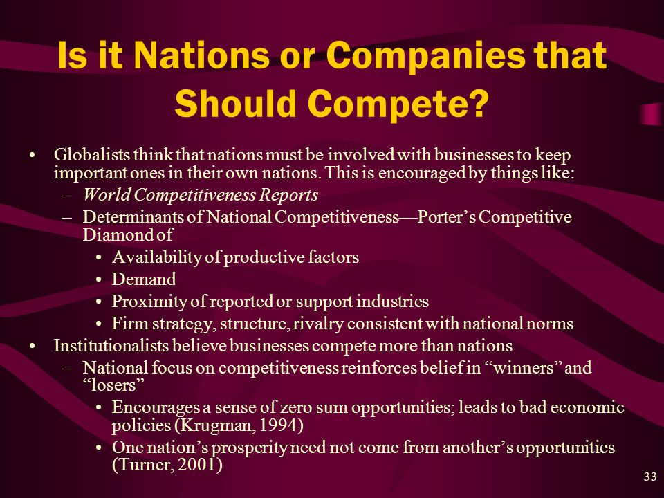 33 Is it Nations or Companies that Should Compete.