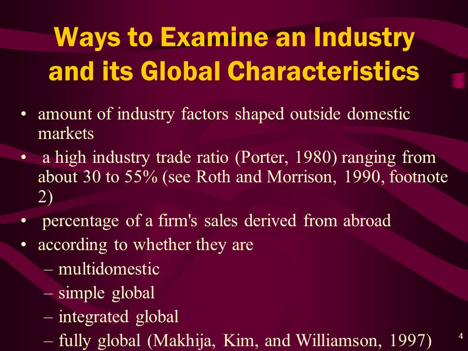 4 Ways to Examine an Industry and its Global Characteristics amount of industry factors shaped outside domestic markets a high industry trade ratio (Porter, 1980) ranging from about 30 to 55% (see Roth and Morrison, 1990, footnote 2) percentage of a firm s sales derived from abroad according to whether they are –multidomestic –simple global –integrated global –fully global (Makhija, Kim, and Williamson, 1997)