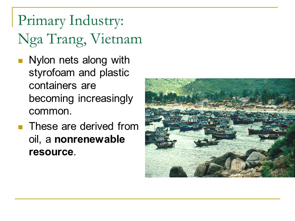 Primary Industry: Nga Trang, Vietnam Nylon nets along with styrofoam and plastic containers are becoming increasingly common. These are derived from o