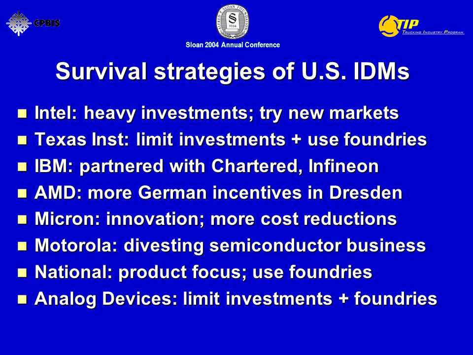 Sloan 2004 Annual Conference Survival strategies of U.S.