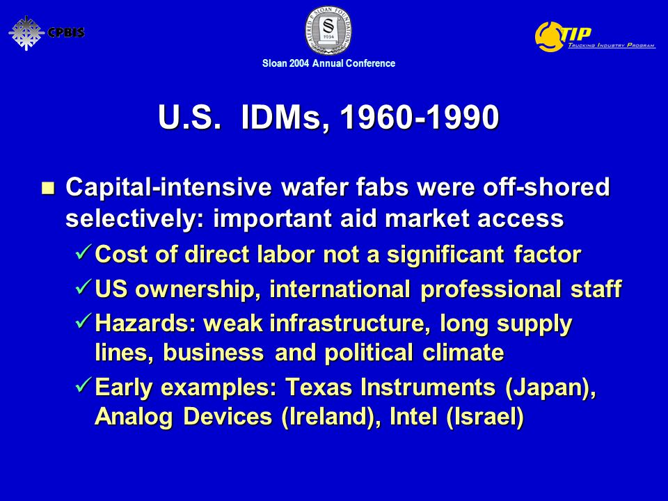 Sloan 2004 Annual Conference U.S. IDMs, 1960-1990 Capital-intensive wafer fabs were off-shored selectively: important aid market access Capital-intens