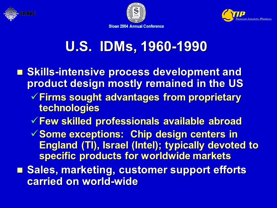 Sloan 2004 Annual Conference U.S. IDMs, 1960-1990 Skills-intensive process development and product design mostly remained in the US Skills-intensive p