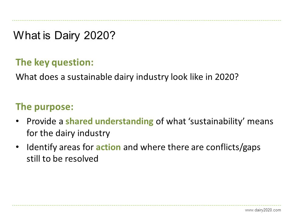 What is Dairy 2020.