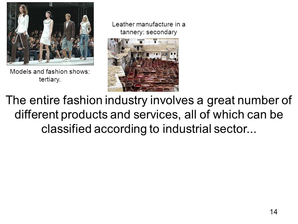 14 The entire fashion industry involves a great number of different products and services, all of which can be classified according to industrial sector...