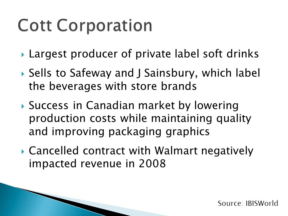  Largest producer of private label soft drinks  Sells to Safeway and J Sainsbury, which label the beverages with store brands  Success in Canadian market by lowering production costs while maintaining quality and improving packaging graphics  Cancelled contract with Walmart negatively impacted revenue in 2008 Source: IBISWorld