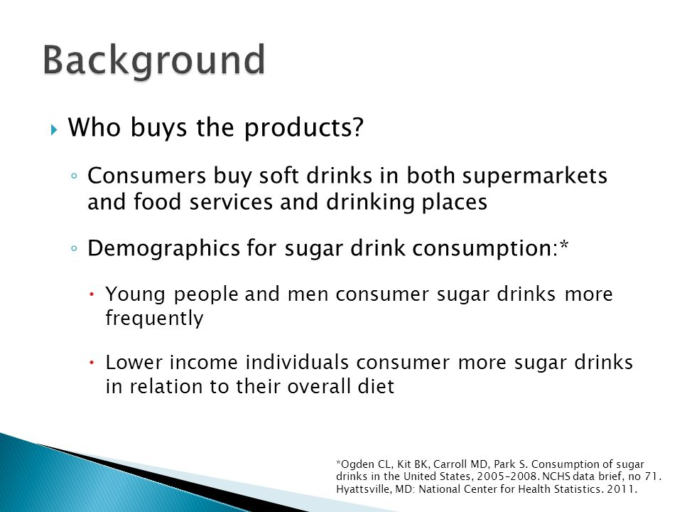 Ogden CL, Kit BK, Carroll MD, Park S.Consumption of sugar drinks in the United States, 2005–2008.