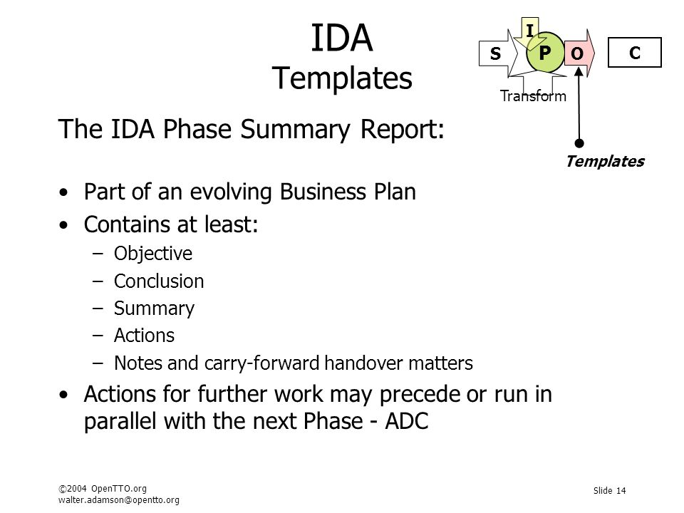©2004 OpenTTO.org walter.adamson@opentto.org Slide 14 IDA Templates The IDA Phase Summary Report: Part of an evolving Business Plan Contains at least: