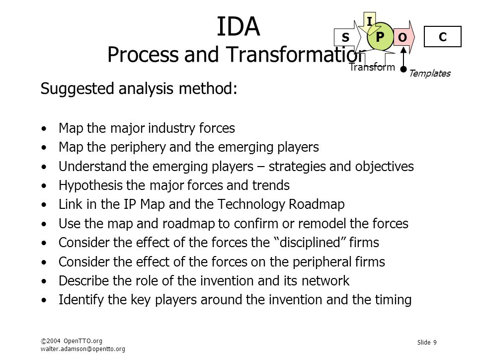 ©2004 OpenTTO.org walter.adamson@opentto.org Slide 10 IDA Analysing Structure and Dynamics Typical detailed questions in support: What is the size of the total industry market.