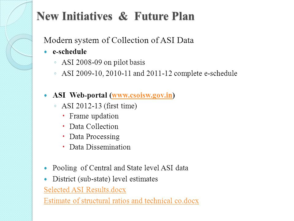 New Initiatives & Future Plan Modern system of Collection of ASI Data e-schedule ◦ ASI 2008-09 on pilot basis ◦ ASI 2009-10, 2010-11 and 2011-12 compl