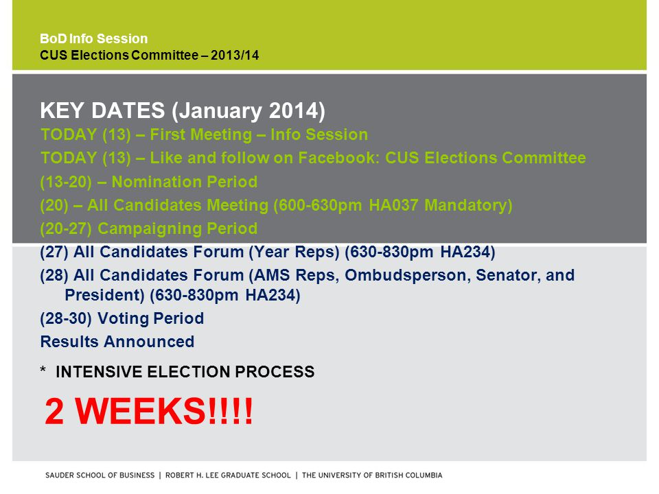 BoD Info Session * INTENSIVE ELECTION PROCESS 2 WEEKS!!!.
