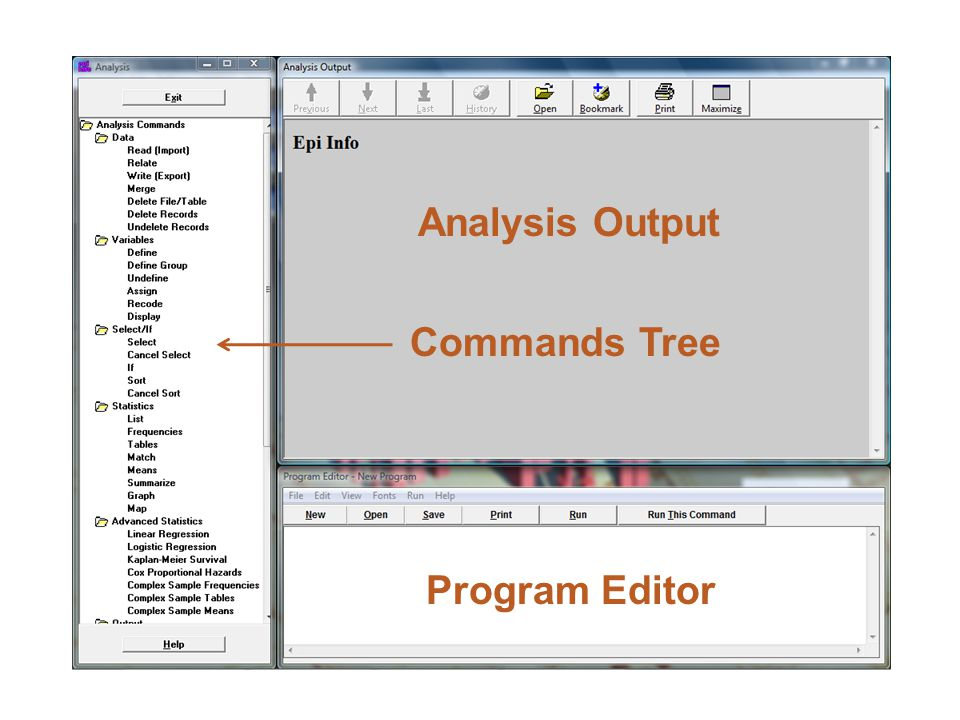 Analysis Output Program Editor Commands Tree