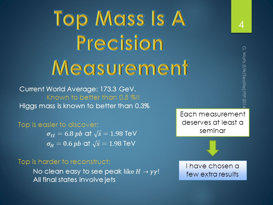 G. Watts (UW/Seattle) FFP 2014 - Marseille 4 Each measurement deserves at least a seminar I have chosen a few extra results Current World Average: 173