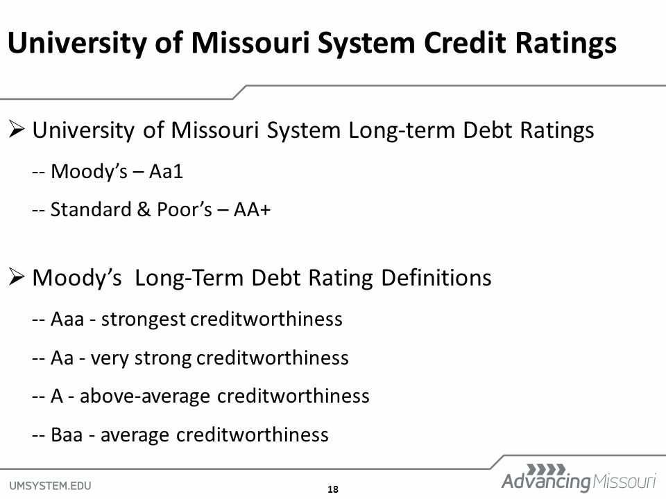 18  University of Missouri System Long-term Debt Ratings -- Moody's – Aa1 -- Standard & Poor's – AA+  Moody's Long-Term Debt Rating Definitions -- Aaa - strongest creditworthiness -- Aa - very strong creditworthiness -- A - above-average creditworthiness -- Baa - average creditworthiness University of Missouri System Credit Ratings