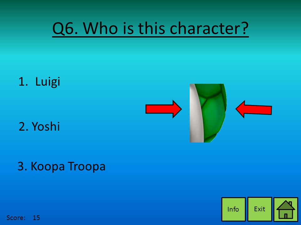 Q6. Who is this character Exit Info 2. Yoshi 3. Koopa Troopa 1.LuigiLuigi Score:15