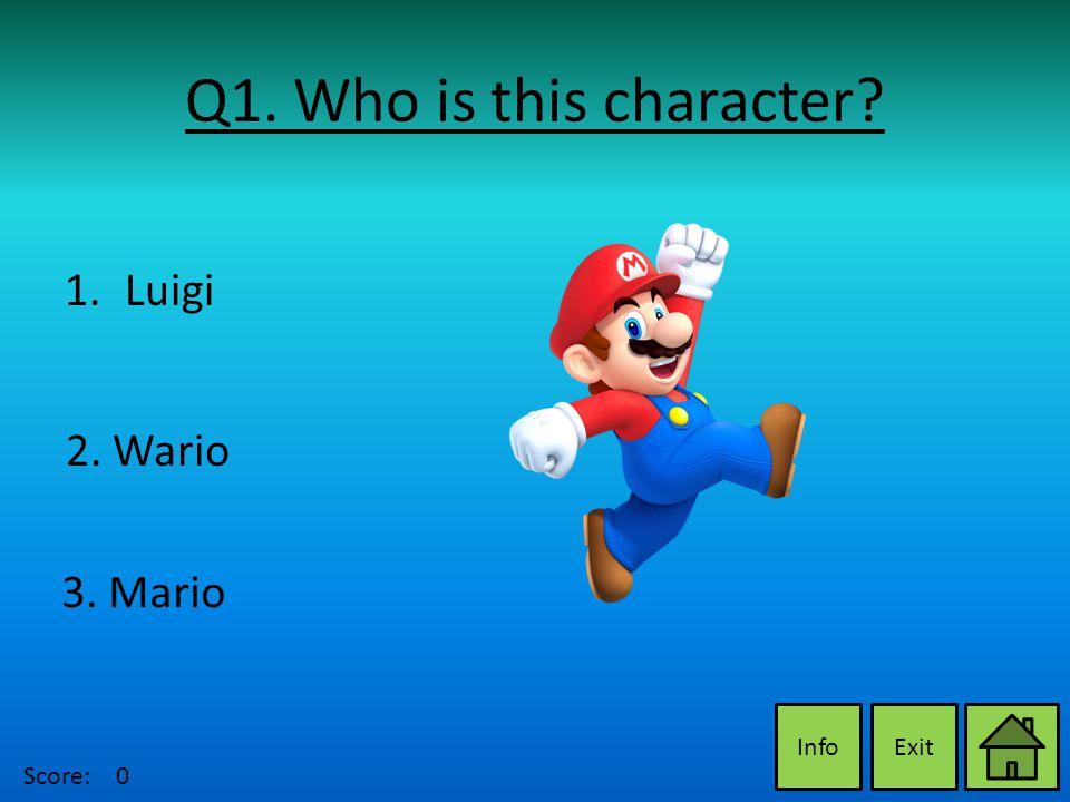 Q1. Who is this character ExitInfo 2. Wario 3. Mario 1.LuigiLuigi Score:0