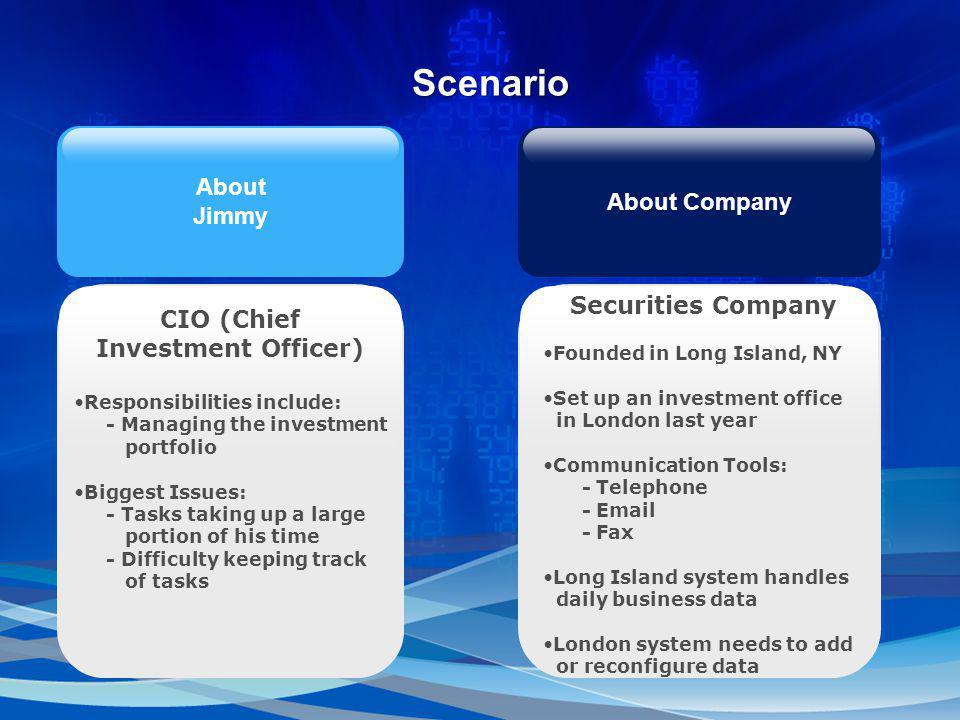 CIO (Chief Investment Officer) Responsibilities include: - Managing the investment portfolio Biggest Issues: - Tasks taking up a large portion of his