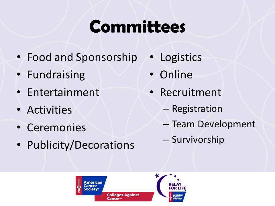 Committees Food and Sponsorship Fundraising Entertainment Activities Ceremonies Publicity/Decorations Logistics Online Recruitment – Registration – Te