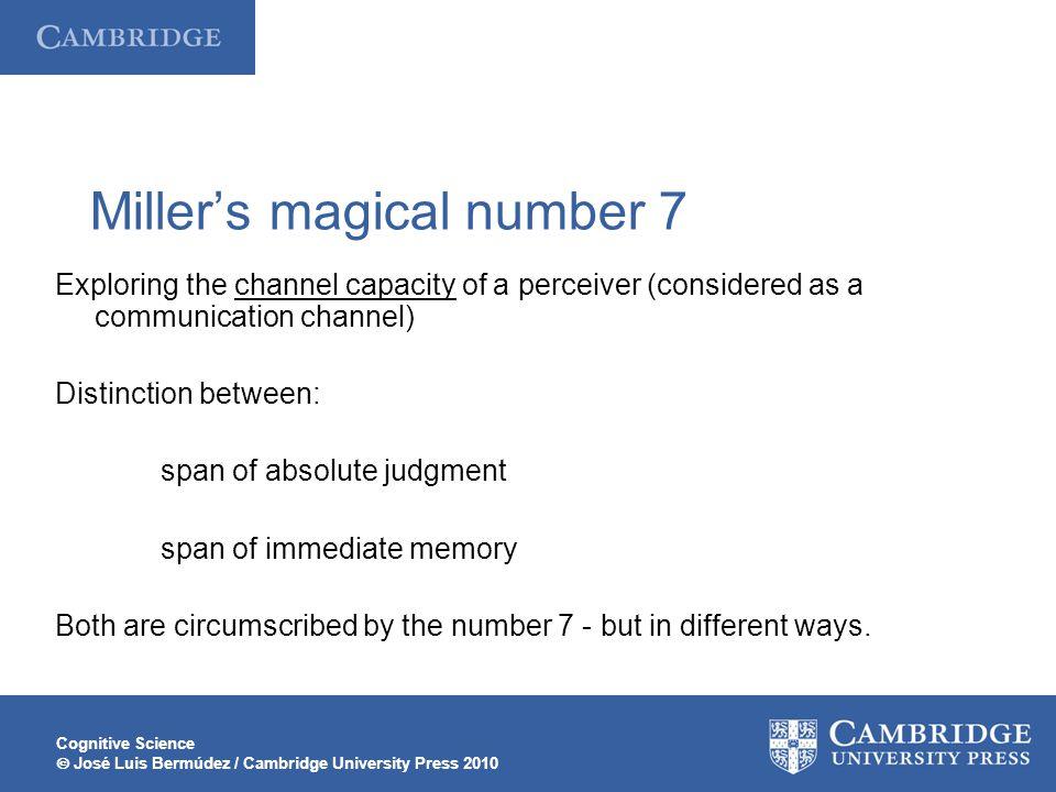 Cognitive Science  José Luis Bermúdez / Cambridge University Press 2010 Miller's magical number 7 Exploring the channel capacity of a perceiver (cons