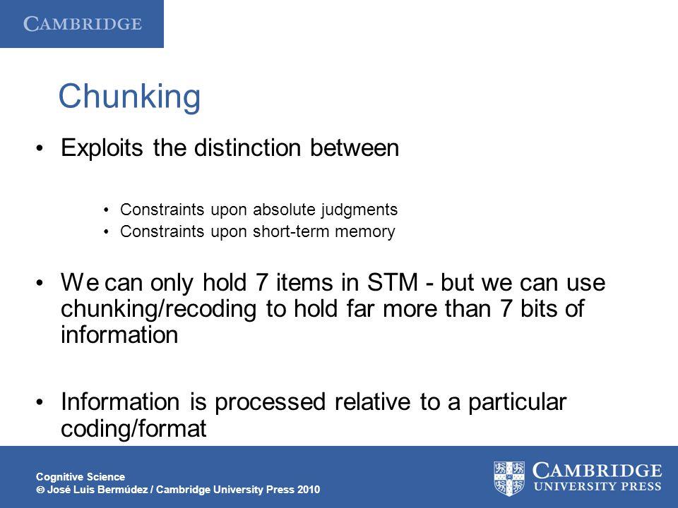 Cognitive Science  José Luis Bermúdez / Cambridge University Press 2010 Chunking Exploits the distinction between Constraints upon absolute judgments