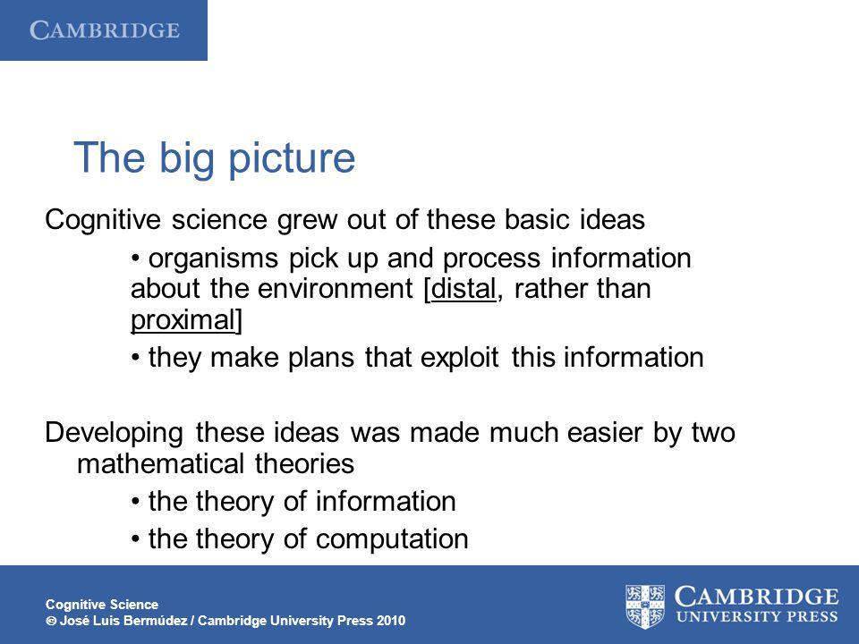 Cognitive Science  José Luis Bermúdez / Cambridge University Press 2010 The big picture Cognitive science grew out of these basic ideas organisms pic