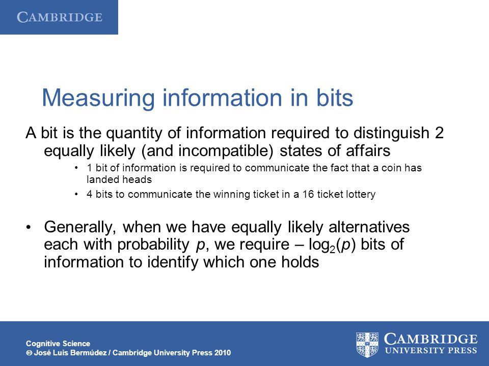 Cognitive Science  José Luis Bermúdez / Cambridge University Press 2010 Measuring information in bits A bit is the quantity of information required t