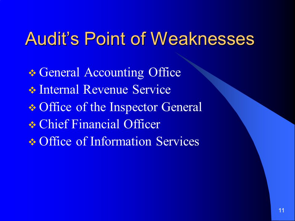 11 Audit's Point of Weaknesses  General Accounting Office  Internal Revenue Service  Office of the Inspector General  Chief Financial Officer  Office of Information Services