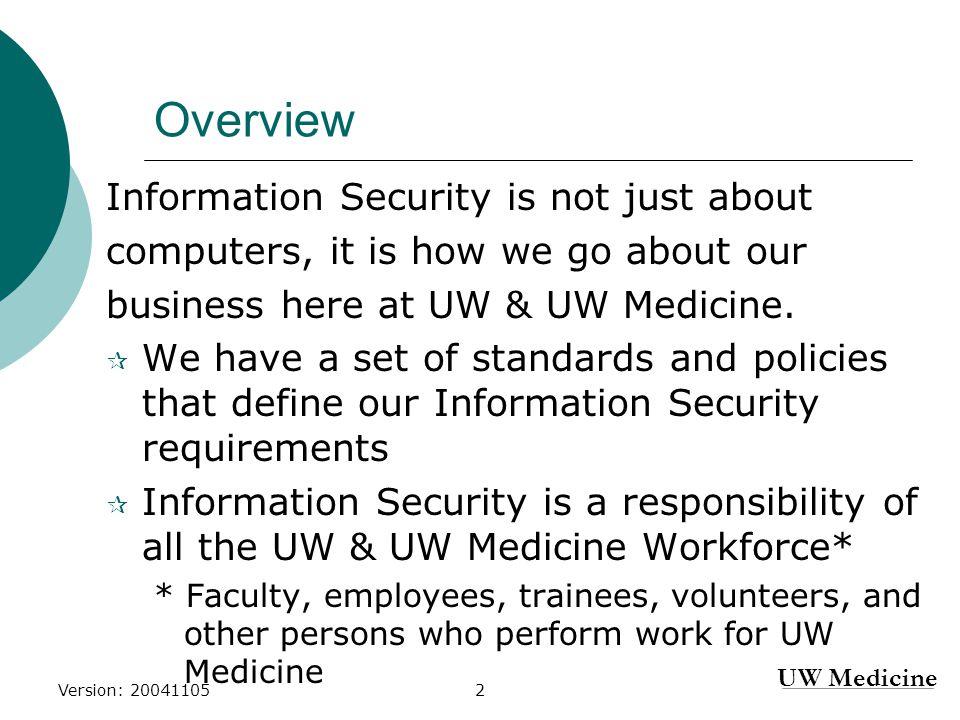 Reference Materials 1. UW Medicine Policies: https://security.uwmedicine.org/securitypolicies.asp