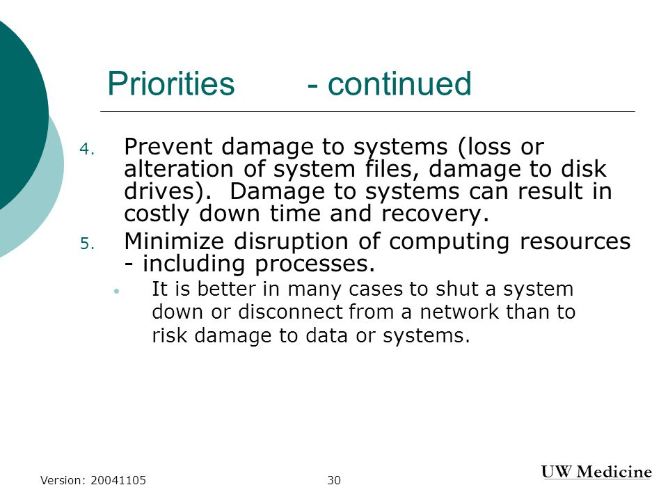 UW Medicine Version: 2004110530 Priorities - continued 4.