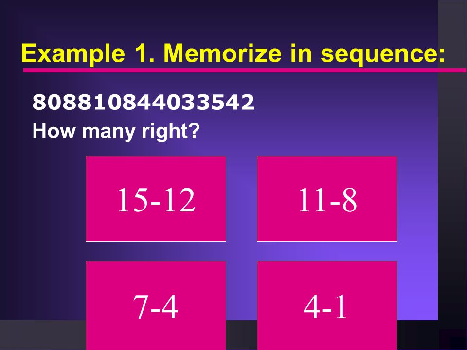 Example 1. Memorize in sequence: 808810844033542 How many right? 15-1211-8 7-44-1