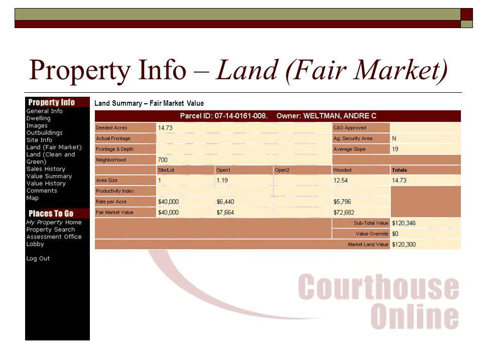 Property Info – Land (Fair Market) Land Summary – Fair Market Value