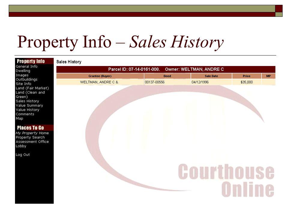 Property Info – Sales History Sales History