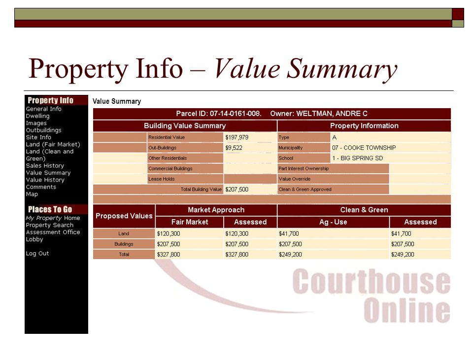 Property Info – Value Summary Value Summary