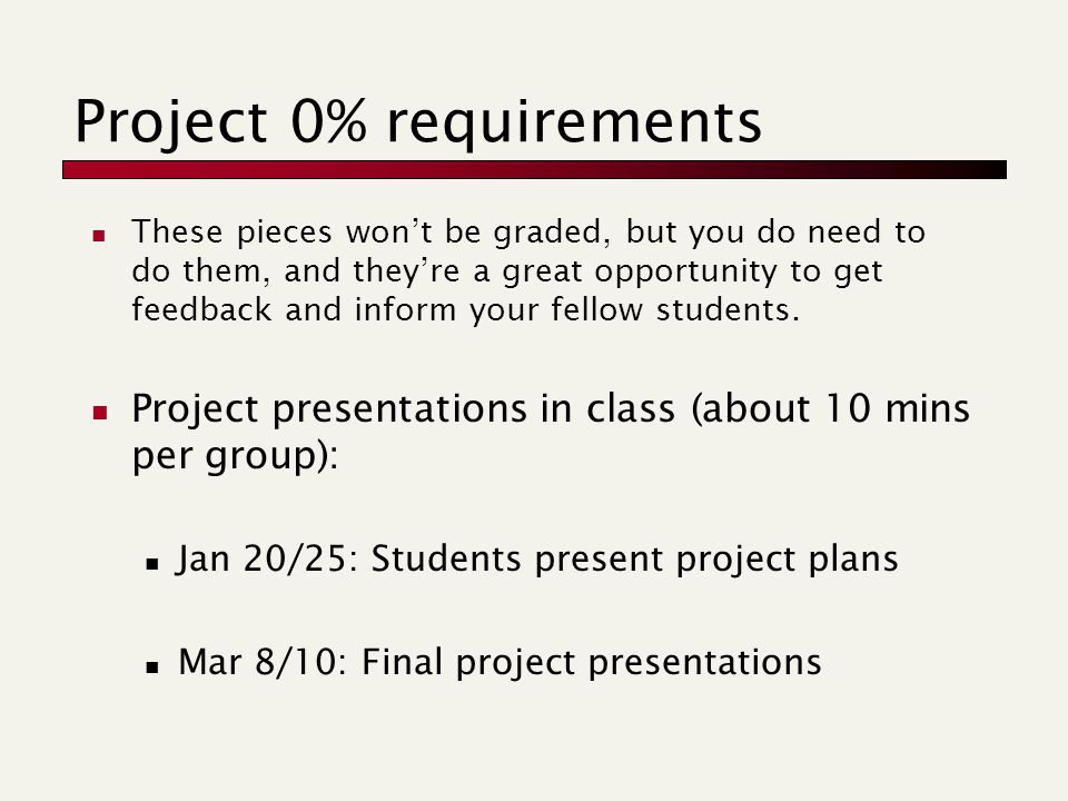 Project 0% requirements These pieces won't be graded, but you do need to do them, and they're a great opportunity to get feedback and inform your fellow students.