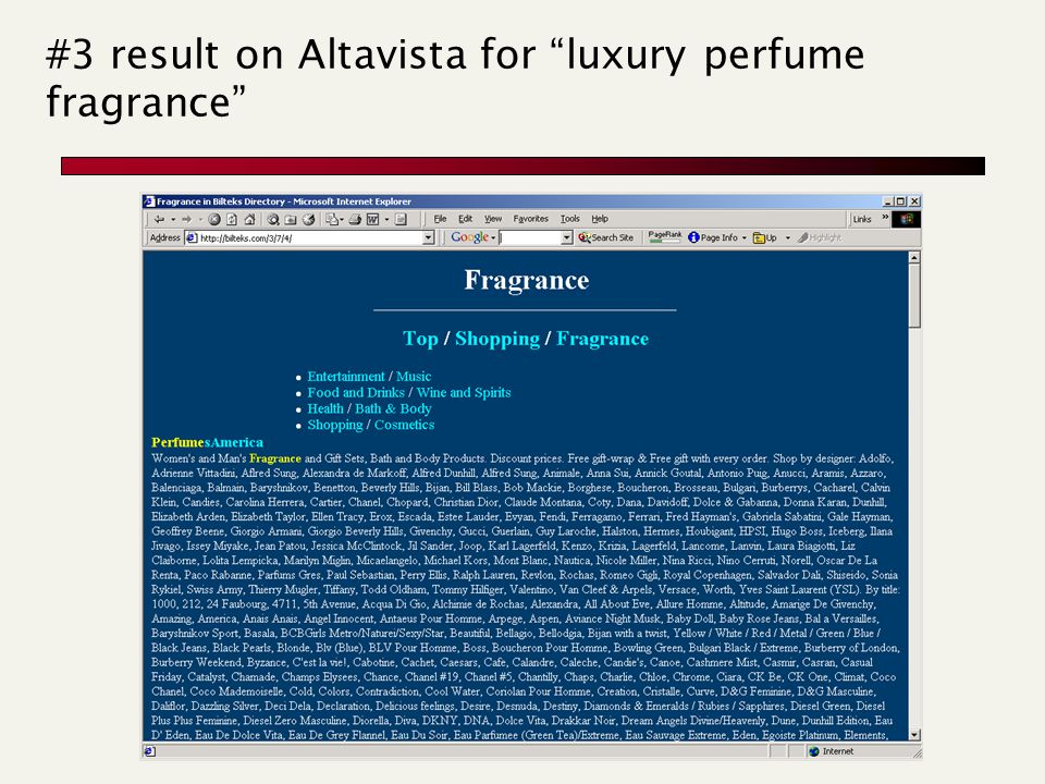 #3 result on Altavista for luxury perfume fragrance