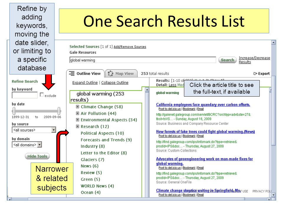 One Search Results List Refine by adding keywords, moving the date slider, or limiting to a specific database Narrower & related subjects Click the article title to see the full-text, if available