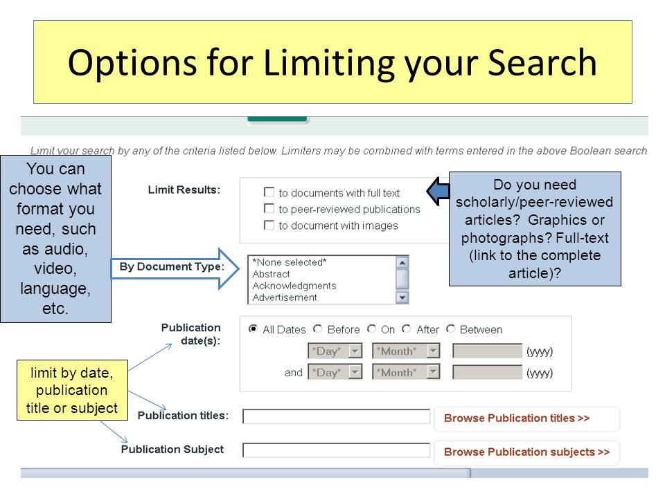 Options for Limiting your Search Do you need scholarly/peer-reviewed articles? Graphics or photographs? Full-text (link to the complete article)? You