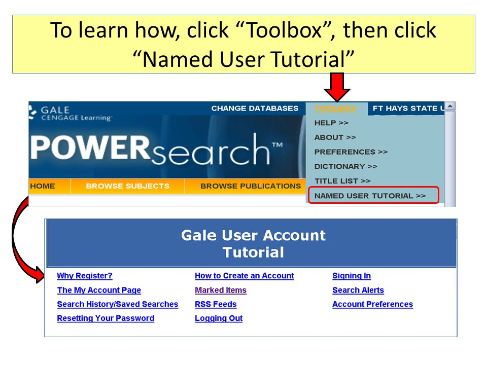 "To learn how, click ""Toolbox"", then click ""Named User Tutorial"""