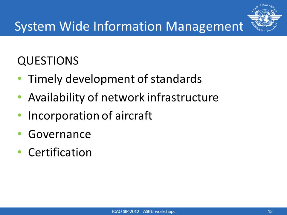 System Wide Information Management QUESTIONS Timely development of standards Availability of network infrastructure Incorporation of aircraft Governan
