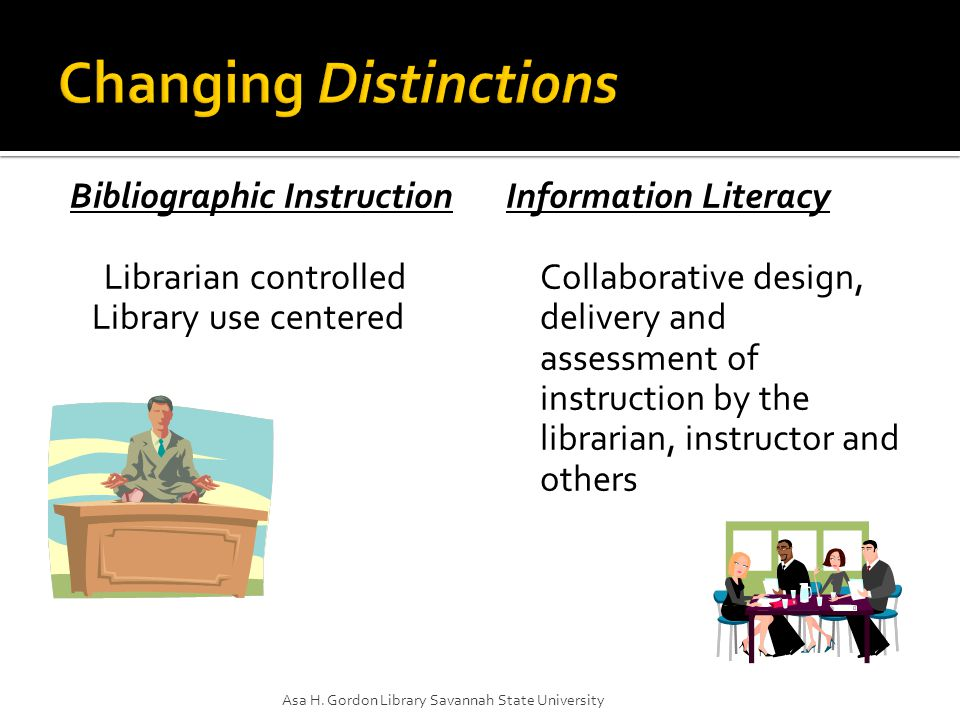 Bibliographic Instruction Librarian controlled Library use centered Information Literacy Collaborative design, delivery and assessment of instruction by the librarian, instructor and others Asa H.