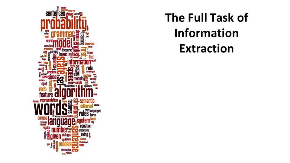 The Full Task of Information Extraction