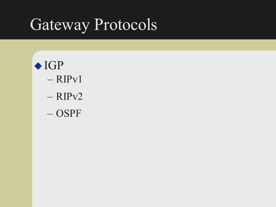 Gateway Protocols u IGP –RIPv1 –RIPv2 –OSPF