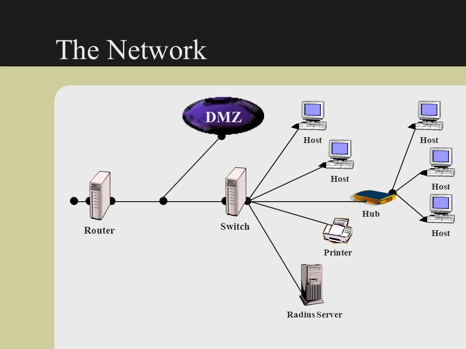 The Network Router Printer Radius Server Hub Switch DMZ Host