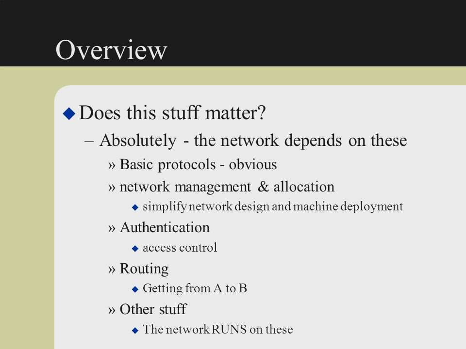 OSPF Security Flaws u Authentication
