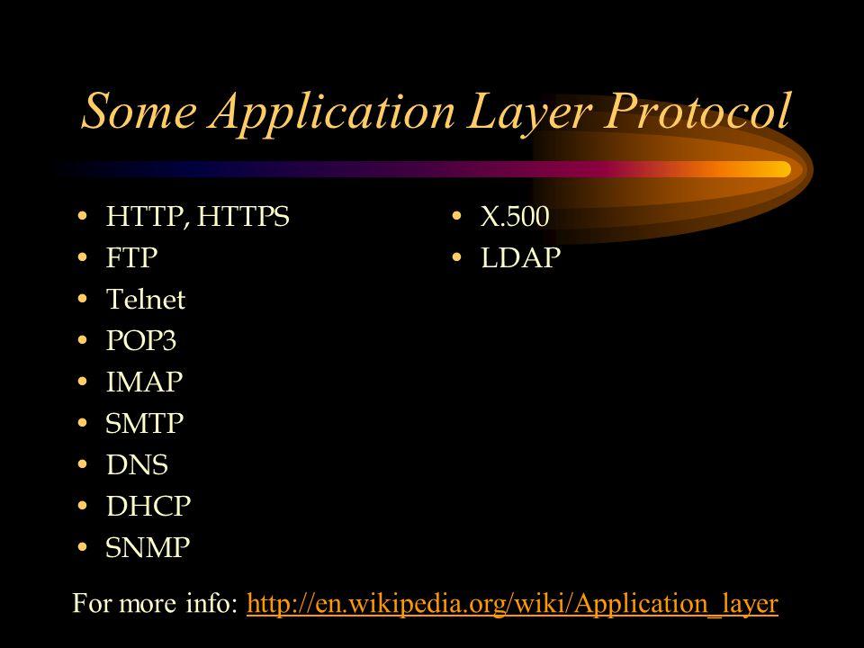 Some Application Layer Protocol HTTP, HTTPS FTP Telnet POP3 IMAP SMTP DNS DHCP SNMP X.500 LDAP For more info: http://en.wikipedia.org/wiki/Application_layerhttp://en.wikipedia.org/wiki/Application_layer