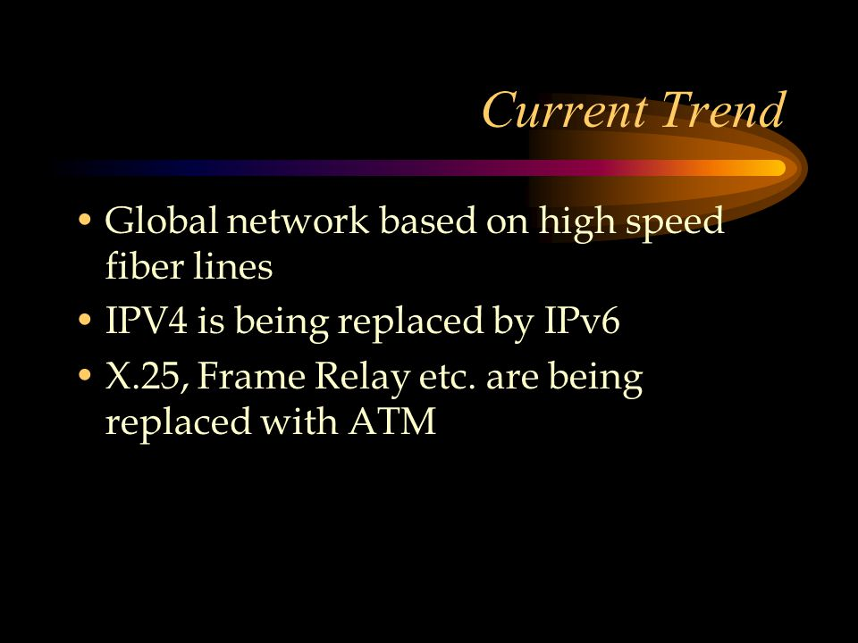 Current Trend Global network based on high speed fiber lines IPV4 is being replaced by IPv6 X.25, Frame Relay etc.