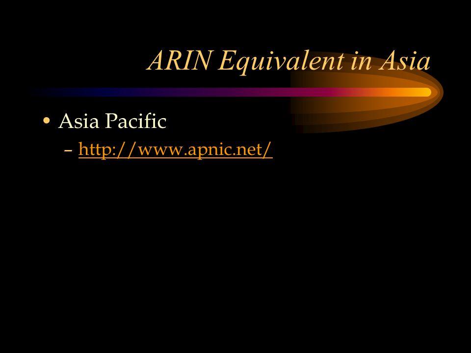 ARIN Equivalent in Asia Asia Pacific –http://www.apnic.net/http://www.apnic.net/