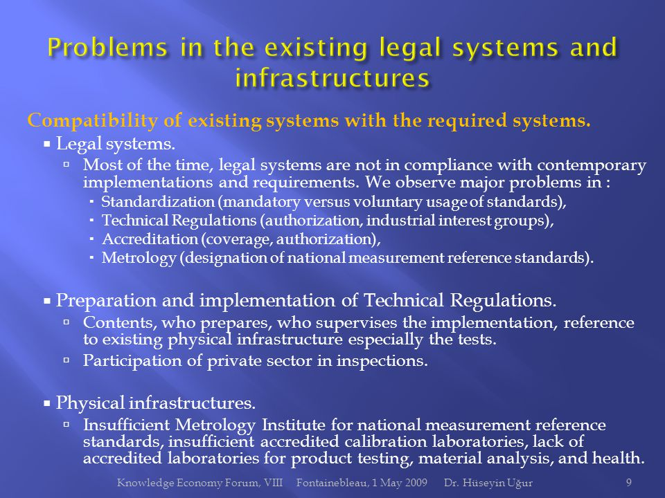 Compatibility of existing systems with the required systems.